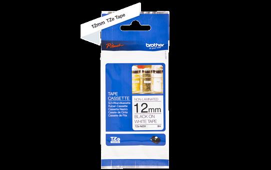 Brother TZeN231: оригинальная неламинированная кассета с лентой для печати наклеек на принтере PTouch, черным на белом фоне, в одном экземпляре, 12 мм. 2
