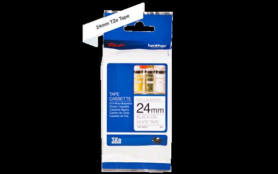 Cassetta nastro per etichettatura originale Brother TZe-N251 – Nero su bianco, 24 mm di larghezza 2