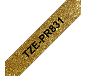 Genuine Brother TZe-PR831 Labelling Tape Cassette – Black On Premium Gold, 12mm wide