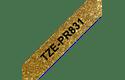 Originali Brother TZe-PR831 ženklinimo juostos kasetė - juodos raidės auksiniame fone, 12 mm pločio
