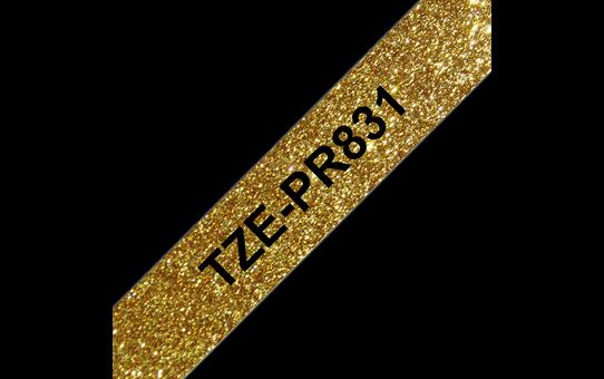 Alkuperäinen Brother TZePR831 -premium tarranauha – musta teksti kullanvärisellä pohjalla, 12 mm