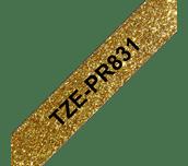 Brother TZe-PR831 Nastro originale - nero su oro glitter Premium, 12 mm di larghezza