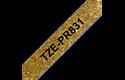 Oriģināla Brother TZe-PR831 uzlīmju lentes kasete – melnas drukas, zelta krāsas lente, 12mm plata