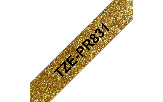 Genuine Brother TZe-PR831 Labelling Tape Cassette – Black On Premium Gold, 12mm wide