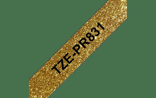 Brother TZe-PR831 Nastro originale - nero su oro glitter Premium, 12 mm di larghezza 3