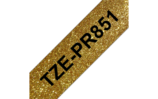 Genuine Brother TZe-PR851 Labelling Tape Cassette – Black On Premium Gold, 24mm wide
