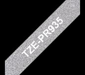 Brother TZe-PR935 Nastro originale – bianco su argento glitter Premium, 12mm di larghezza