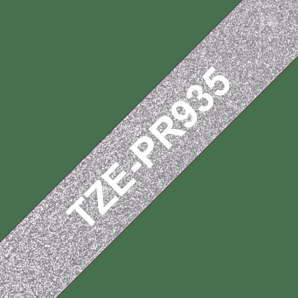 TZe-PR935 white on premium silver 12mm tape