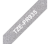 Genuine Brother TZe-PR935 Labelling Tape Cassette – White On Premium Silver, 12mm wide