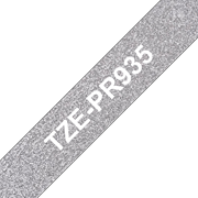 TZe-PR935 white on premium silver 12mm tape