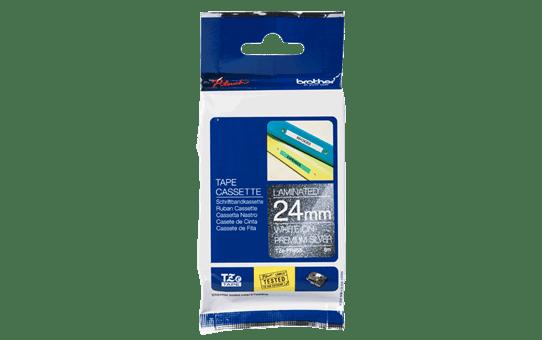 Genuine Brother TZe-PR955 Labelling Tape Cassette – White On Premium Silver, 24mm wide 3