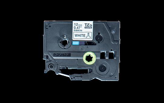 Originali Brother TZe-R231 medžiaginės juostos kasetė – juodos raidės baltame fone, 12 mm pločio