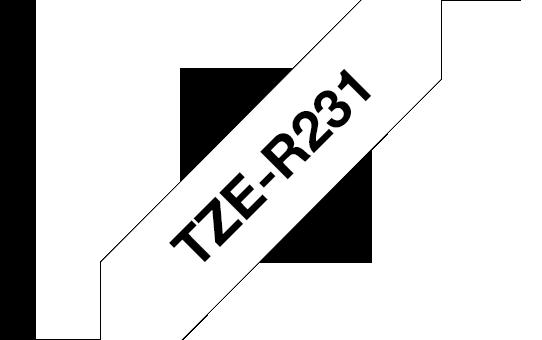 Brother TZe-R231 Касета с лента за панделки, черен текст на бял фон