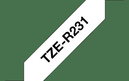 Originali Brother TZe-R231 medžiaginės juostos kasetė – juodos raidės baltame fone, 12 mm pločio 3