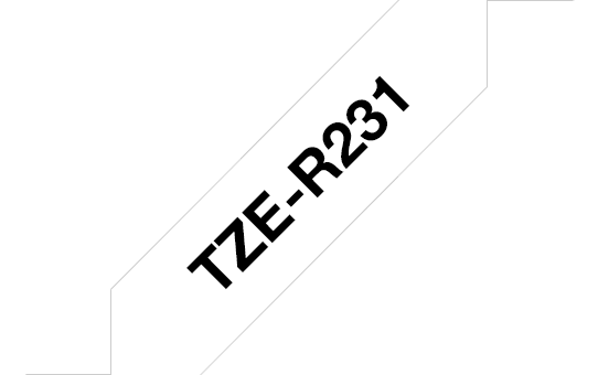 Originele Brother TZe-R231 lintcassette – zwart op wit, 12 mm breed