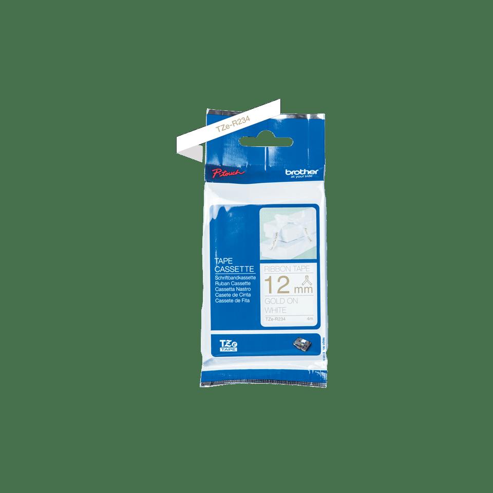 Cassette à ruban tissu TZe-R234 Brother originale – Or sur blanc, 12mm de large 3