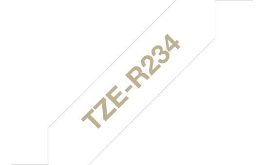 Genuine Brother TZe-R234 Ribbon Tape Cassette – Gold on White, 12mm wide