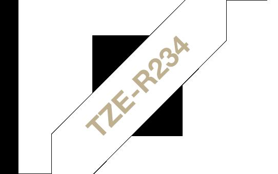 Casetă cu bandă decorativă originală Brother TZe-R234 – auriu pe alb de 12mm lățime