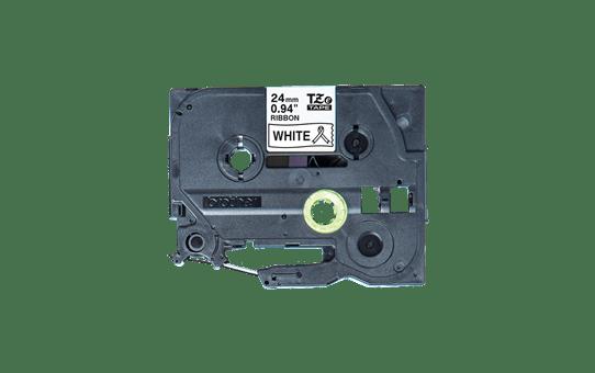 Originalt Brother TZe-R251 satinbånd - Sort på hvid, 24 mm bredt 4
