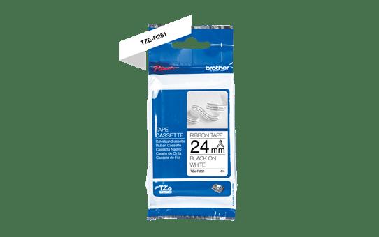 Genuine Brother TZe-R251 Ribbon Tape Cassette – Black on White, 24mm wide 5
