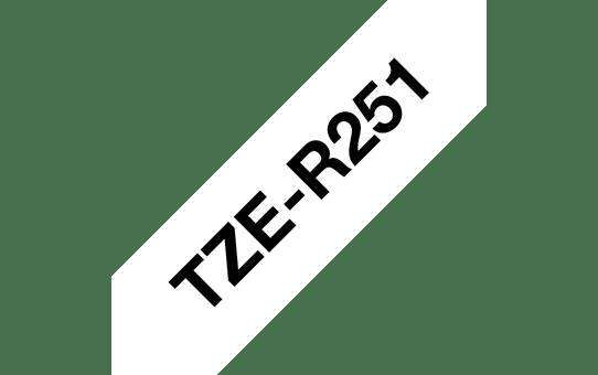 Originalt Brother TZe-R251 satinbånd - Sort på hvid, 24 mm bredt 6