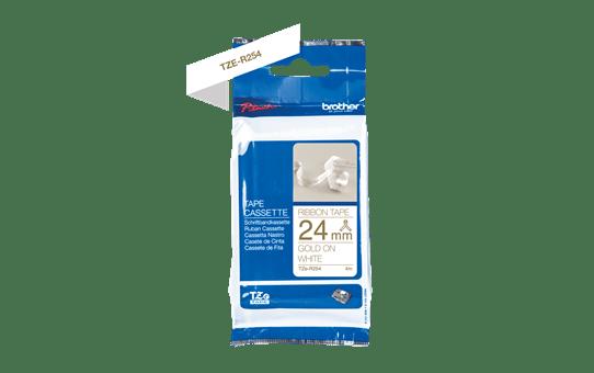 TZe-R254 - Cassette originale à ruban tissu - or sur blanc - pour étiqueteuse Brother - 24mm de large 2