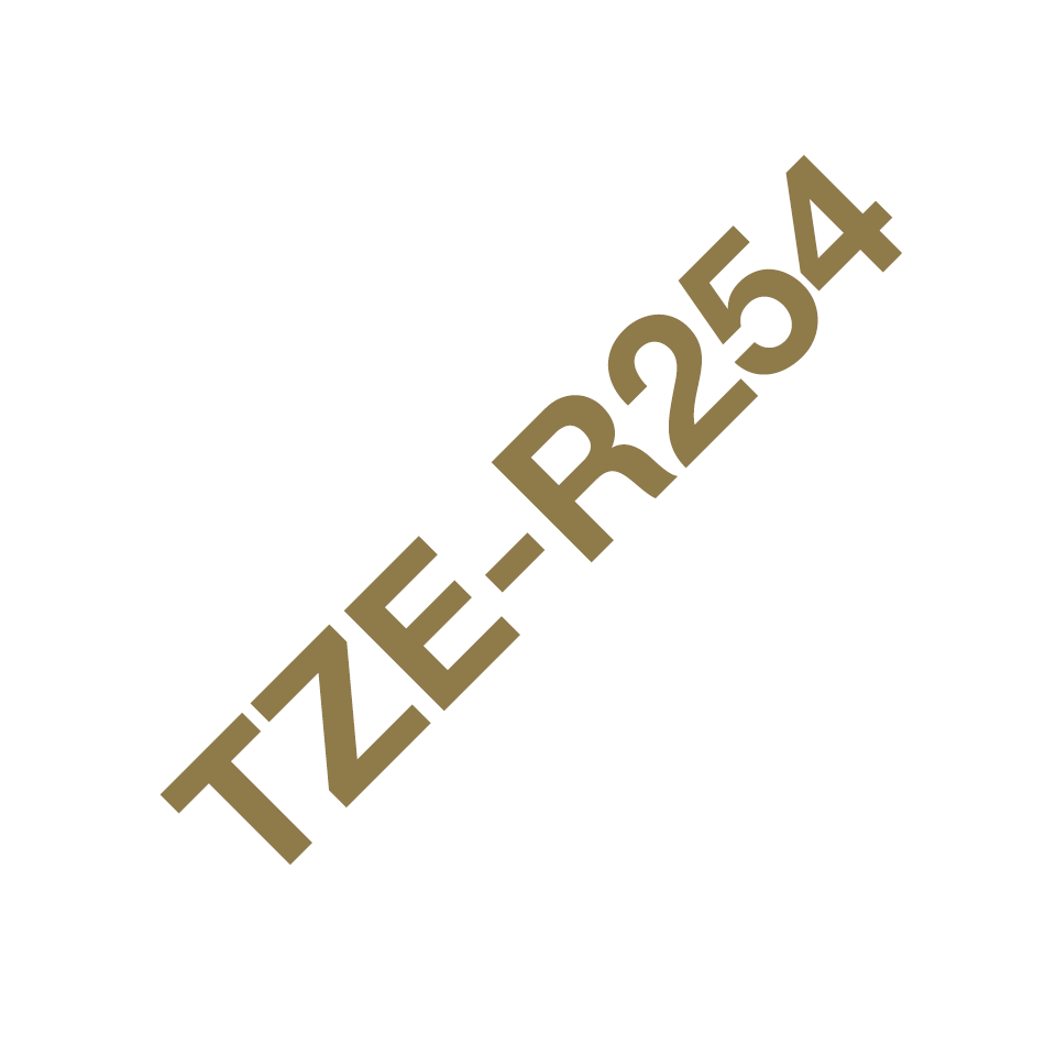 TZe-R254 24mm gold on white TZe ribbon