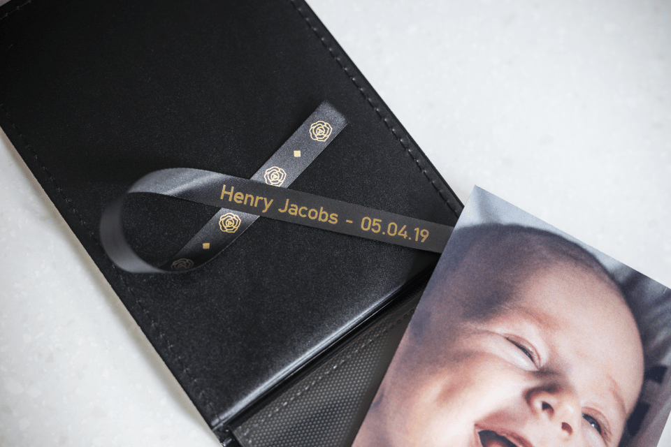 Brother TZe-R334 satin ribbon tape cassette - gold on black - new born baby photo album with the name and date of birth of the baby