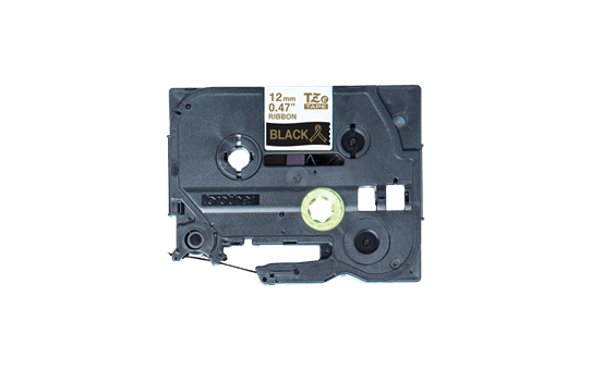 Originální pásková kazeta Brother TZe-R334 - zlatý tisk na černé, šířka 12 mm