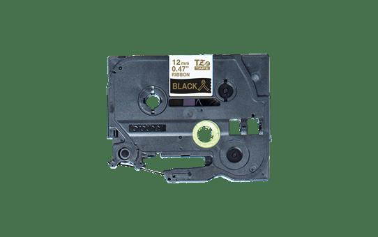 Oryginalna taśma wstążkowa Brother TZe-R334 – złoty nadruk na czarnym tle, 12 mm szerokości