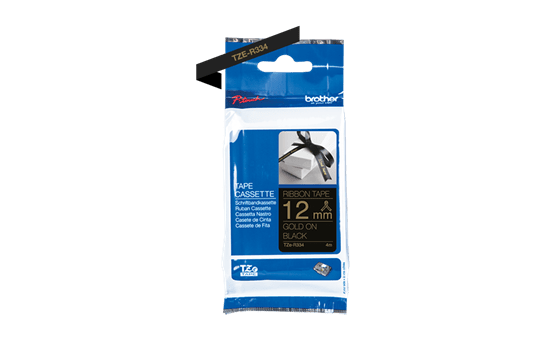 Originalt Brother TZeR334 silkebånd – gull på sort, 12 mm bred 5