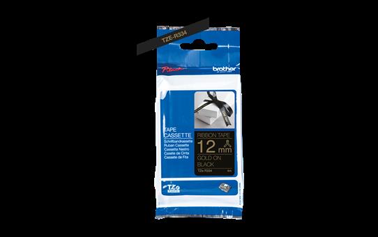 Originální pásková kazeta Brother TZe-R334 - zlatý tisk na černé, šířka 12 mm 2