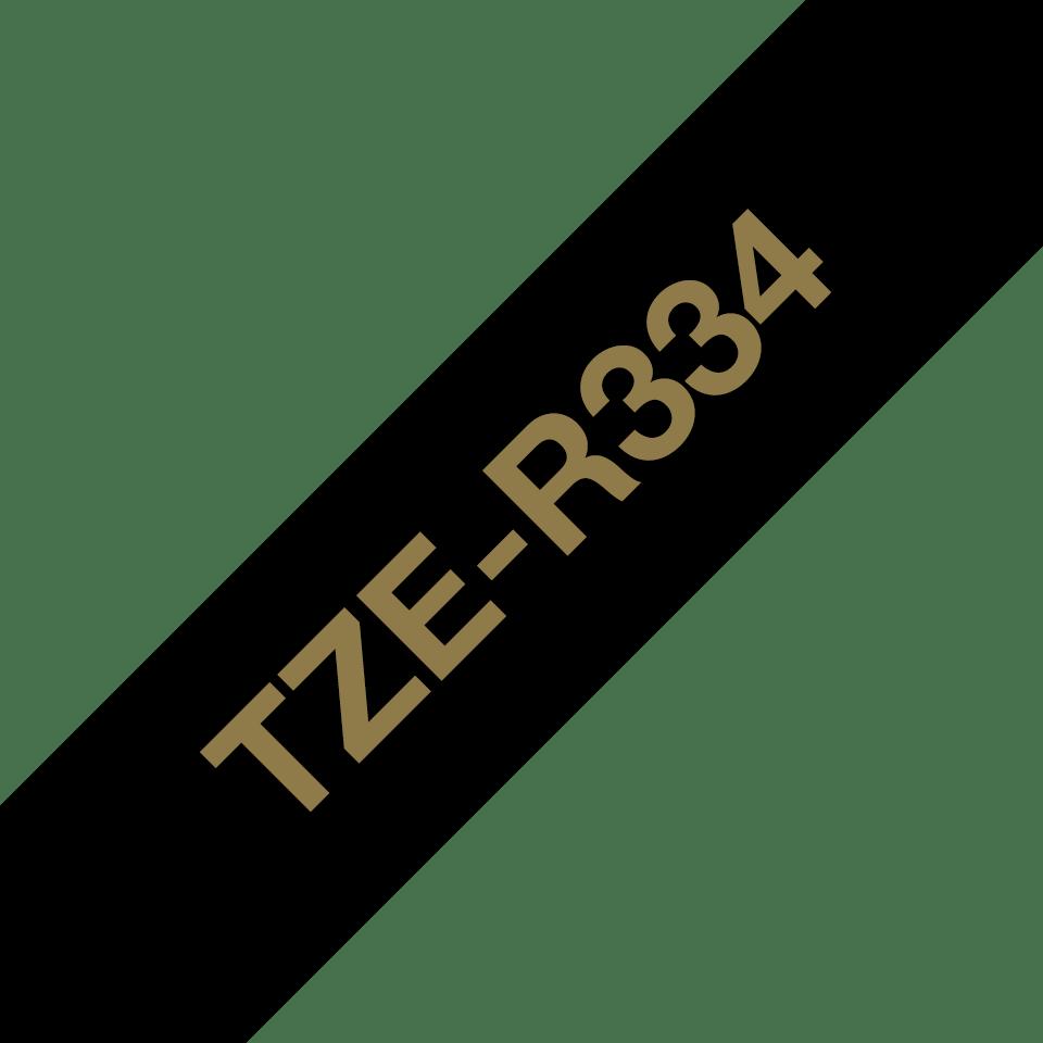 Oryginalna taśma wstążkowa Brother TZe-R334 – złoty nadruk na czarnym tle, 12mm szerokości 3