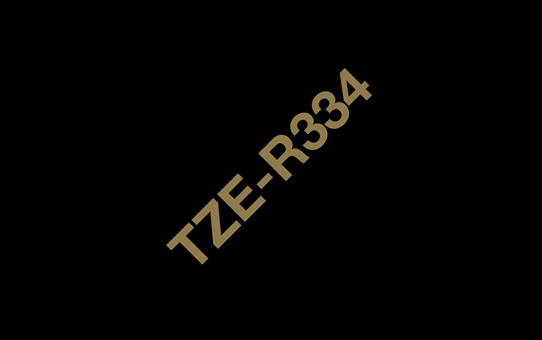 Casetă cu bandă panglică originală Brother TZe-R334 – auriu pe negru, 12mm lățime 3