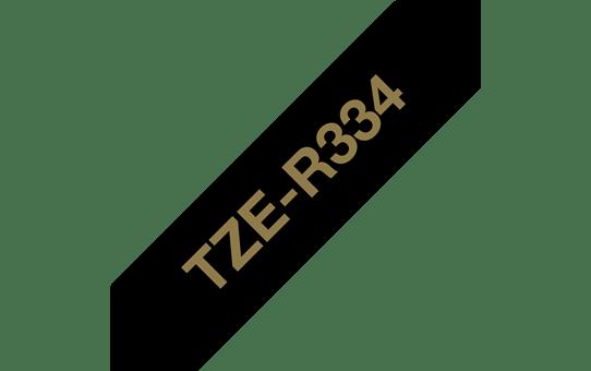 Оригинальная кассета с тканевой лентой TZe-R334 -золотой на черном, ширина 12 мм. 3