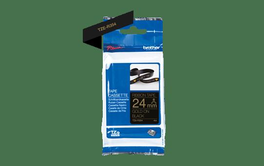 Brother TZe-R354 Textilband – gold auf schwarz