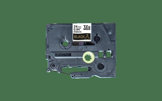 Originalt Brother TZeR354 silkebånd – gull på sort, 24 mm bred 6