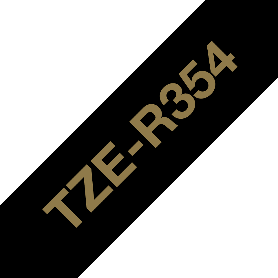 TZe-R354 24mm gold on black TZe ribbon