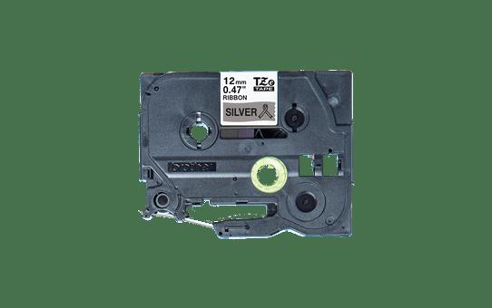 Oryginalna taśma wstążkowa Brother TZe-R931 – czarny nadruk na srebrnym tle, 12mm szerokości 2