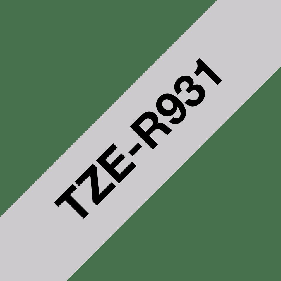TZe-R931 taśma wstążkowa TZe firmy Brother z czarnym nadrukiem na srebrnym tle o szerokości 12mm