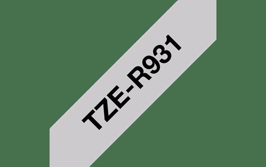 Oryginalna taśma wstążkowa Brother TZe-R931 – czarny nadruk na srebrnym tle, 12 mm szerokości