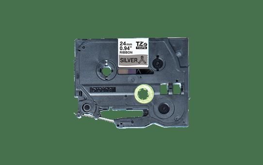 Oriģināla Brother TZe-R951 auduma lentes kasete – melnas drukas sudraba, 24mm plata