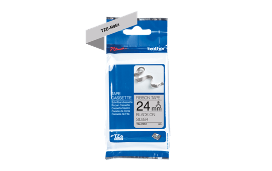 Oriģināla Brother TZe-R951 auduma lentes kasete – melnas drukas sudraba, 24mm plata 2