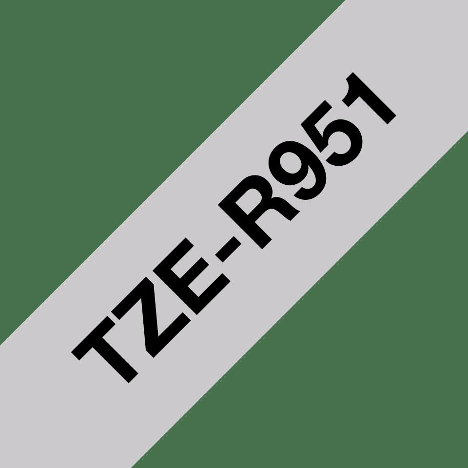 Äkta Brother TZe-R951 satinbandskassett – svart på silver, 24 mm brett band