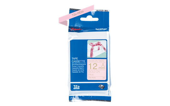 Genuine Brother TZe-RE34 Ribbon Tape Cassette – Gold on Pink, 12mm wide 3
