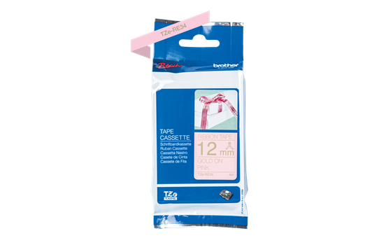 Genuine Brother TZe-RE34 Ribbon Tape Cassette – Gold on Pink, 12mm wide 6