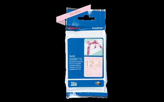 Original Brother TZeRE34 silkebånd – gull på rosa, 12mm bred 3