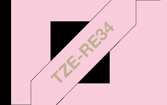 Eerdeti Brother TZe-RE34 selyemszalag – Rózsaszín alapon arany, 12 mm széles