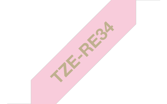 Genuine Brother TZe-RE34 Ribbon Tape Cassette – Gold on Pink, 12mm wide