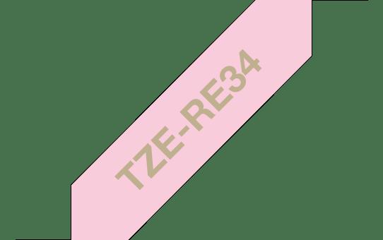 Original Brother TZe-RE34 satinbånd – guld på lyserød, 12 mm bred